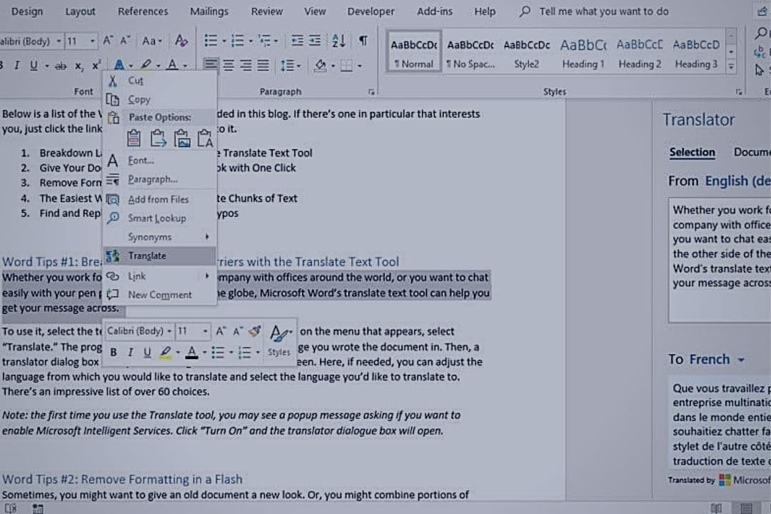 Word Tips Document Creation