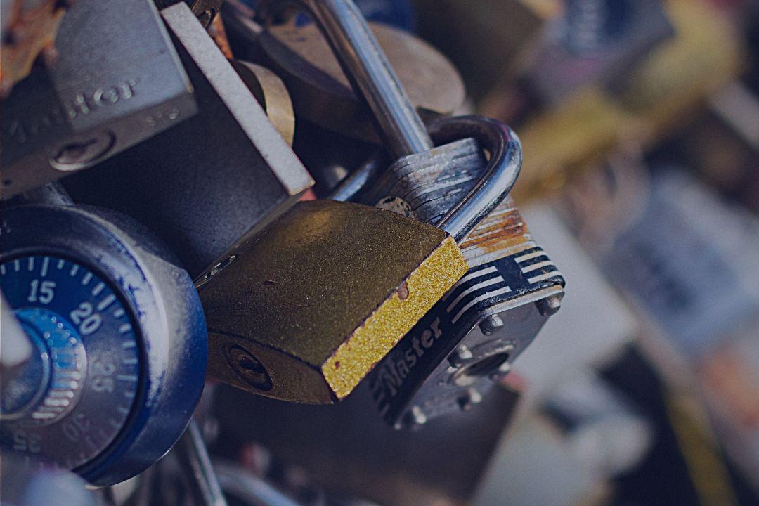 Closeup of padlocks