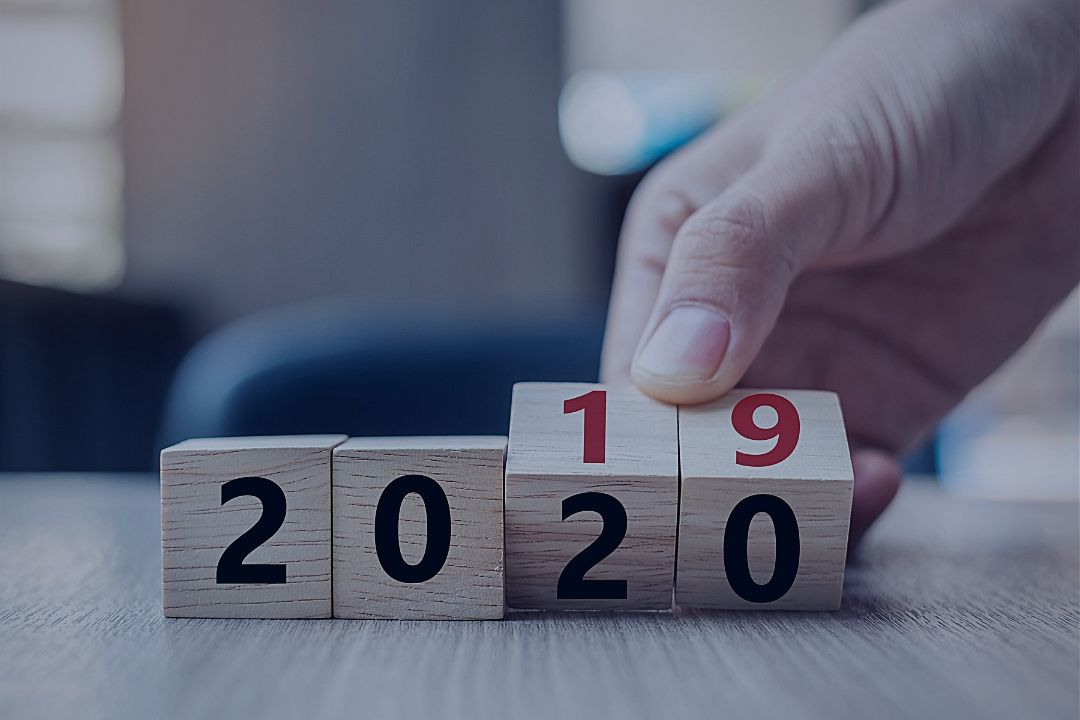 Wooden blocks showing the numbers 2020