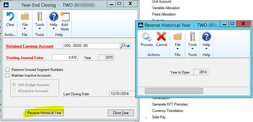 Dynamics GP Reverse Historical Year