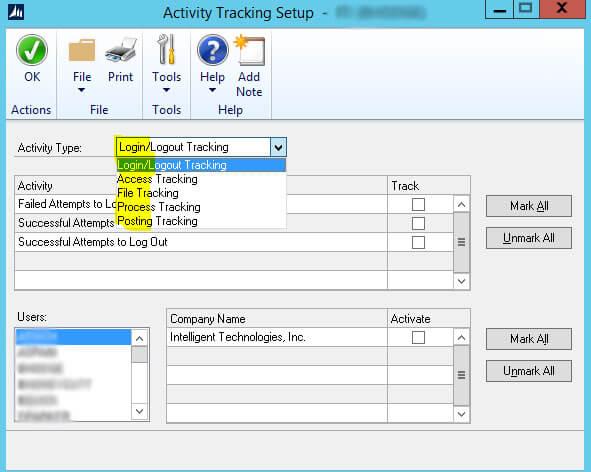 Dynamics GP Activity Tracking Setup