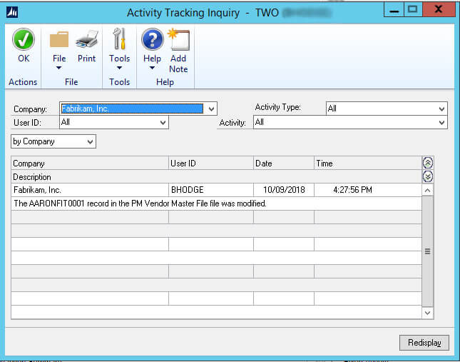 Dynamics GP Activity Tracking Inquiry