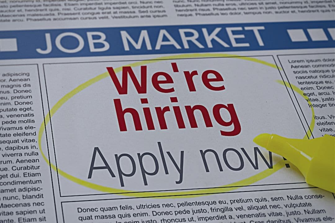 Job ad circled in newspaper