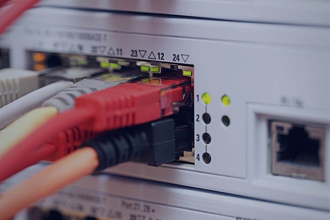 Closeup of networking equipment