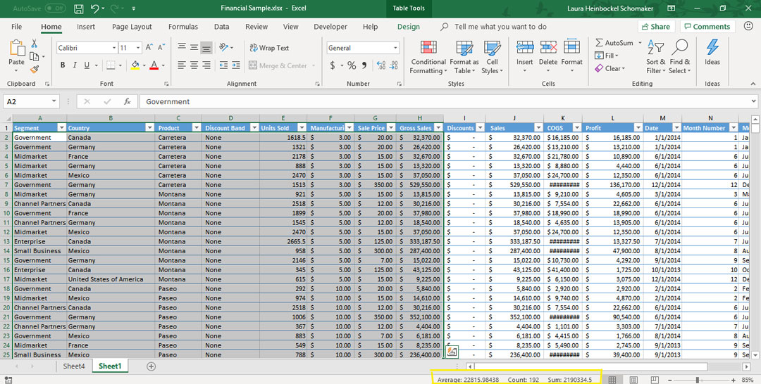 Summary data automatically calculated in Excel