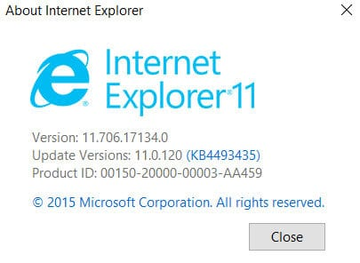 Internet Explorer splash screen where you can find which version you're using