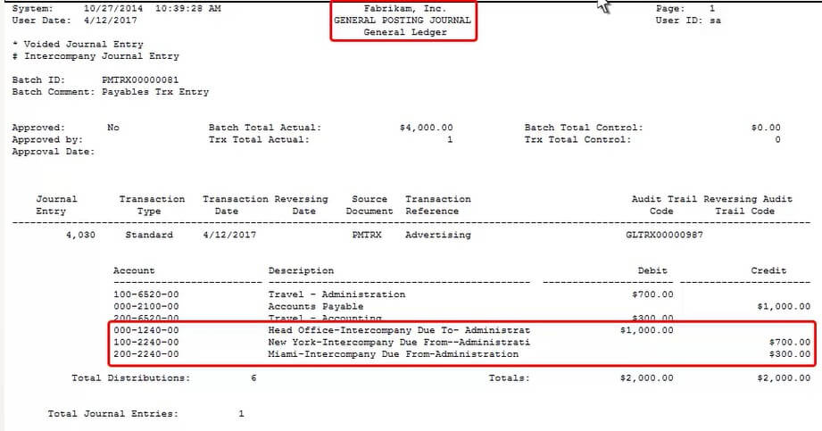 Screenshot of General Posting Journal in Dynamics GP using Muti-Entity Management solution