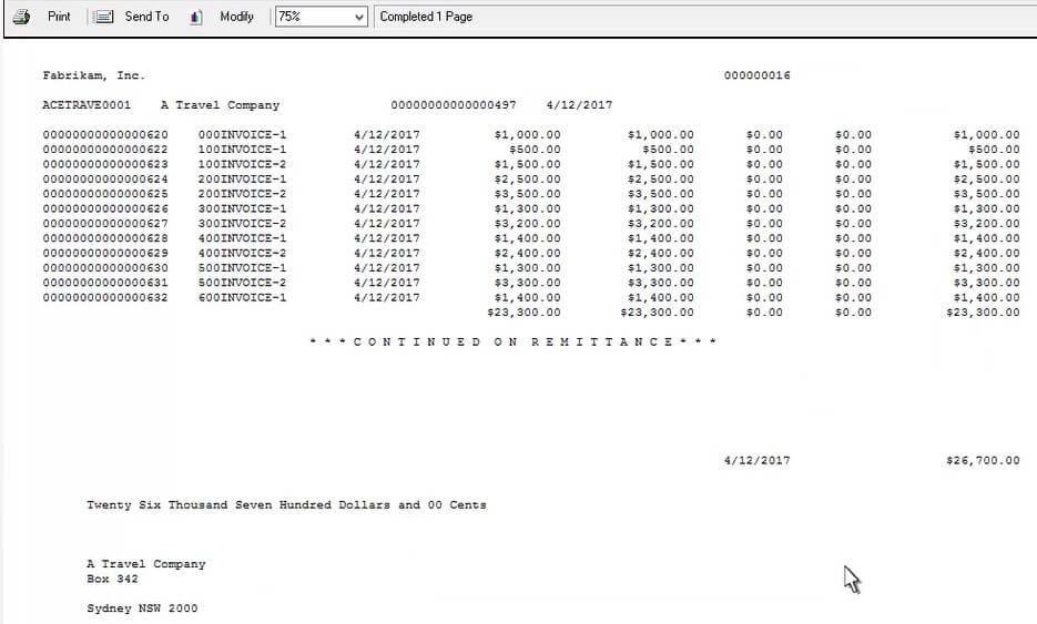 Screenshot of Check Batch printout in Dynamics GP using Muti-Entity Management solution
