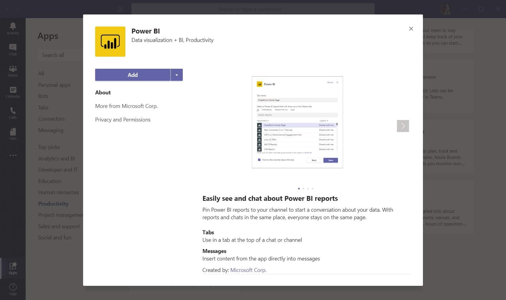 Command line menu in Microsoft Teams