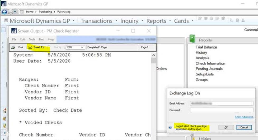 Screenshot showing what happens when this Dynamics GP email error occurs