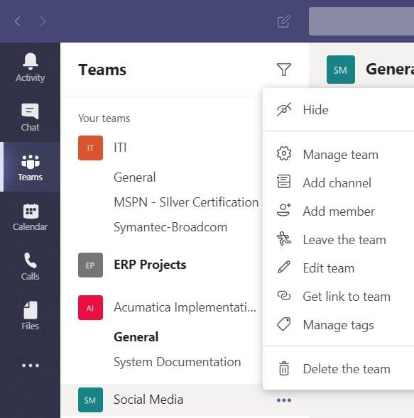 Menu showing how to hide a team in Microsoft Teams