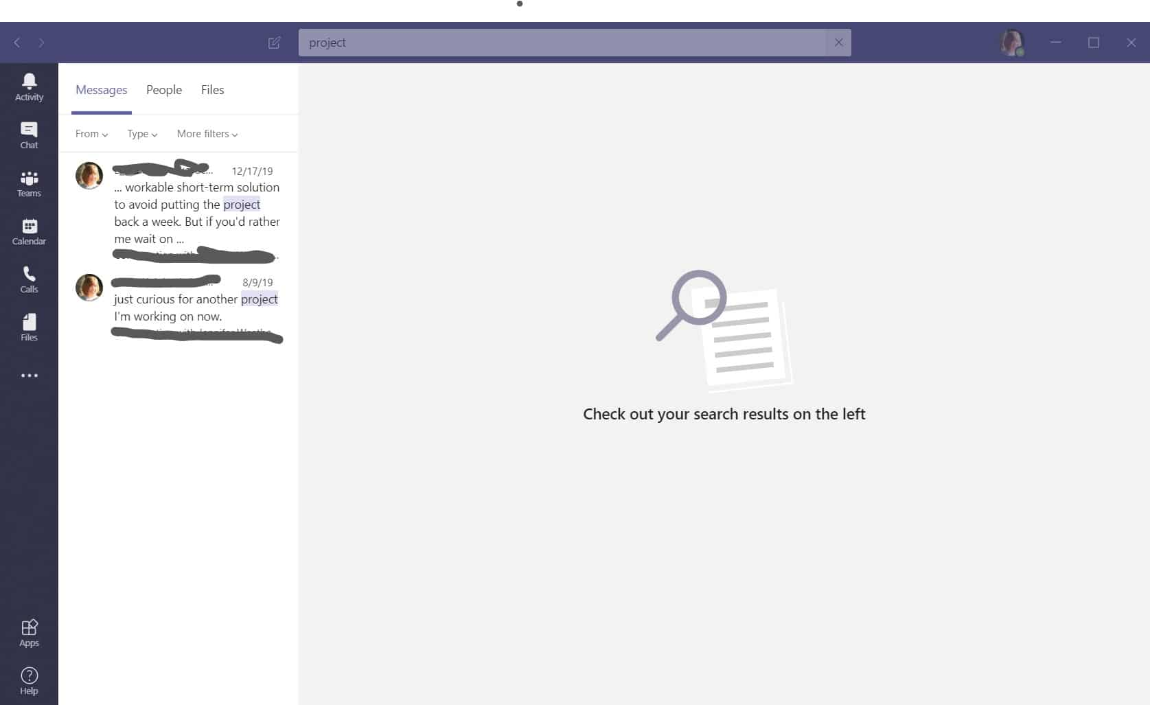 Conducting a search in Microsoft Teams